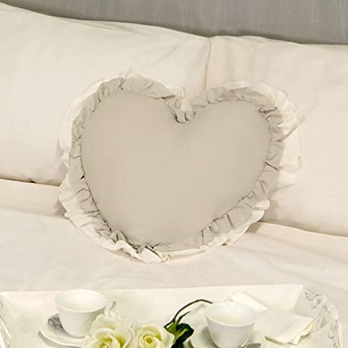 Cojín Decorativo en Forma de Corazón con Volantes, Almohada Decorativa, Funda de Cojín, Cojín con Relleno Romántico Rústico Shabby Chic - Volantes - 50x45 - Beige/Marfil