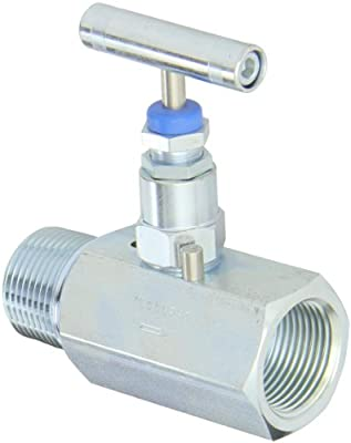 """PIC Gauge NV-CS-1-HS-180-MXF Carbon Steel Straight Needle Valve with Hydraulic Service Seat, 1"""" Male NPT x 1"""" Female NPT Connection Size, 10000 psi Pressure from PIC Gauges"""