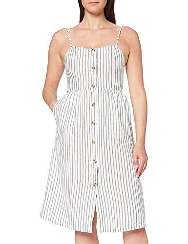 ONLY Damen Sommerkleid Luna gestreift mit Knopfleiste 15178937 White/White/Stripes 42