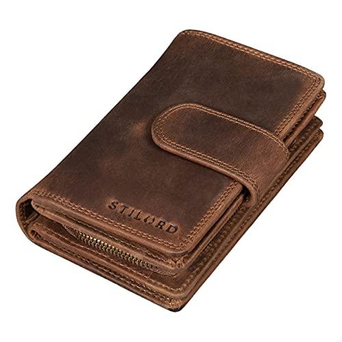 STILORD 'Tilda' Portafoglio Cuoio Donna Vintage RFID Wallet Large Portamonete per Carte de Credito Borsellino Porta-Carte con Cerniera in in Vera Pelle, Colore:marrone medio