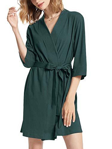 SIORO - Albornoz de algodón para mujer, talla S a XXXL Verde verde oscuro L