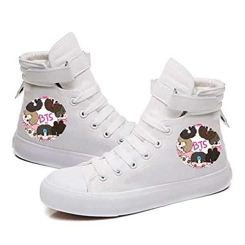 HJJ Zapatos bts Zapatos de lona de la historieta de BTS Bangtan Boys Kpop transpirable zapatos de lona Chicas Chicos suela de goma de los zapatos ocasionales de los estudiantes Estrellas BTS