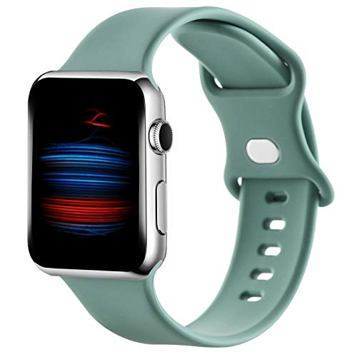 Gleiven Compatible with Apple Watch Bands 42mm 44mm for Women Men,Sport Soft Silicone Replacement Wristbands for iWatch Series 6/5/SE/4/3/2/1