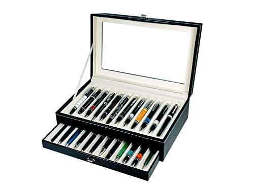 Scatola Portapenne con vetrina per 24 penne in eco pelle