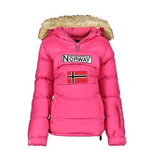 Geographical Norway BELANCOLIE Lady - Parka de Mujer cálida - Abrigo Capucha de Piel sintética - Chaqueta Invierno Acolchada - Chaqueta Corta Forro cálido - Regalo de Mujer (Rosa XL) Talla 4