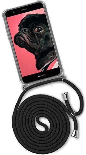 ONEFLOW® Handykette + Hülle passend für Huawei P10 Lite | Stylische Kordel Kette - Kristallklare Handyhülle mit Band zum Umhängen in Schwarz