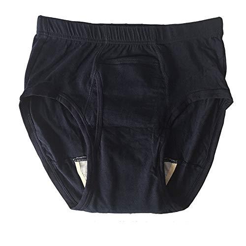 DYHQQ Waschbarer Baumwoll-Unterwäsche-Boxershorts für Harninkontinenz mit vorderer Saugfläche,S