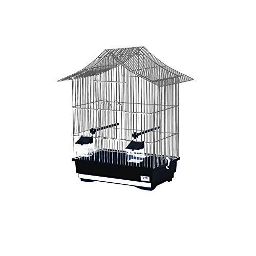 decorwelt Vogelkäfige XL Schwarz Außenmaße 49x32x57,5 cm Urlaub Reisekäfig Zubehör Wellensittich Futternapf Kanarienkäfig Plastik Vogel Modell KS1