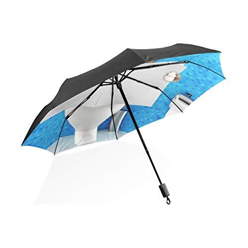 Paraguas Boxer para mujer Perro sentado en el asiento del inodoro Paraguas...