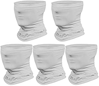Neck Gaiter Mask (5-Pack), Reusable Face Scarf Breathable Lightweight Face Cover Bandana for Men and Women (Grey)