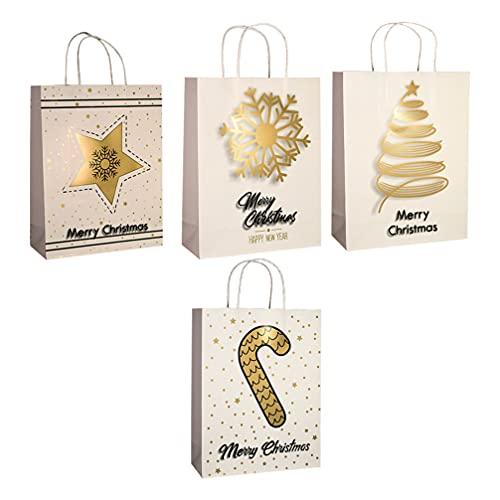 BESPORTBLE Bolsa Asa 4 Pzas Bolsas de Papel para Compras Bolsa de Regalo de Santa Claus Caja de Dulces Bolsas de Mercancía para Fiesta de Navidad Favor