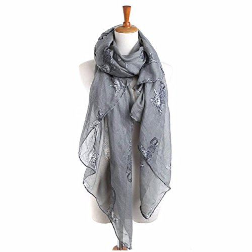 jieGorge Women Ladies Cat Print Long Scarf Warm Wrap Shawl GY, Scarf, Clothing Shoes & Accessories (Gray)