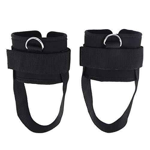 VORCOOL 2 correas de tobillo acolchadas con anillo en D para gimnasia, entrenamiento, máquinas de cables, glúteos y ejercicios de piernas (negro)