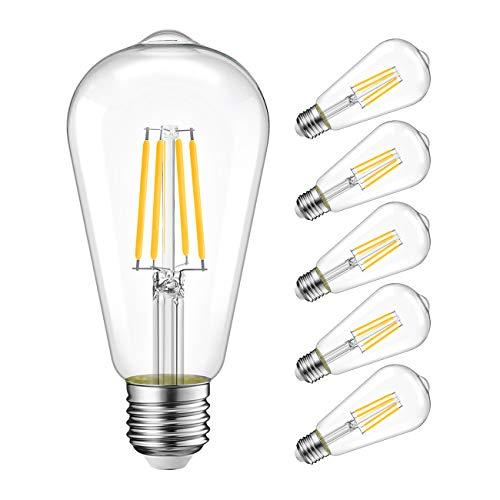 LVWIT ST64 LED Filament Bulb Dimmable 11W (75W Equivalent) 2700K Warm White Edison Style Light Bulbs 1100 Lumens E26 Medium Screw Base 6 Pack