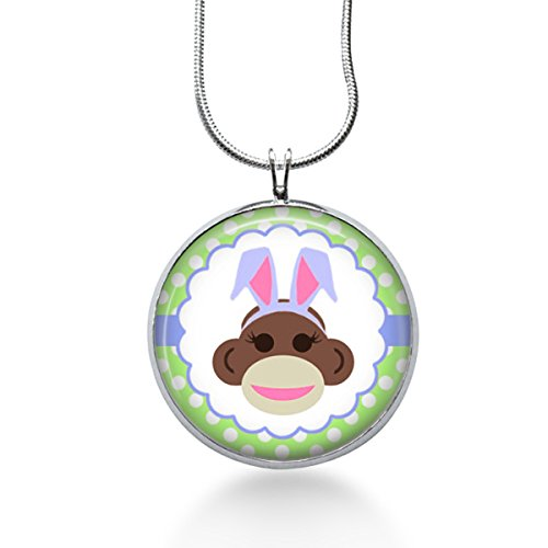 Monkey Easter Bunny Pendant Necklace - Handmade Jewelry - Kitsch -Sock Monkey