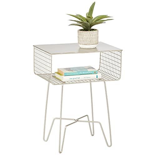 Mesa auxiliar moderna para casa de campo, diseño de metal sólido, cesta de almacenamiento abierta, patas de horquilla, resistente,...