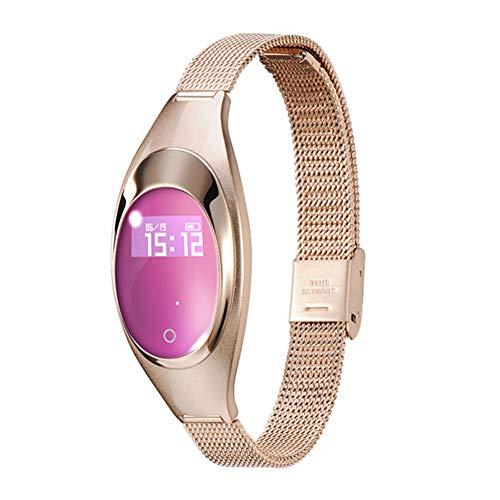 """Walmeck- Pulsera Inteligente para Mujer Z18 0.49\""""Reloj de Pulsera de Metal con Pantalla OLED BT 4.0 Pulsera Deportiva con Monitor de frecuencia cardíaca Monitor de Ritmo cardíaco Podómetro de"""