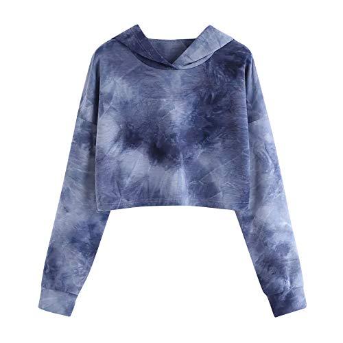 Color Tie Dye Sudaderas Tumblr Cortas con Capucha para Mujer Chica Adolescente Niña