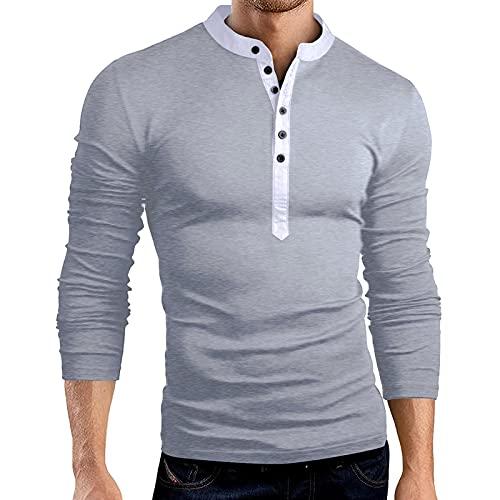 Dasongff Henley - Camiseta de manga larga para hombre con cuello Grandad, básica de manga larga, informal, cuello redondo con botones, corte regular, monocolor