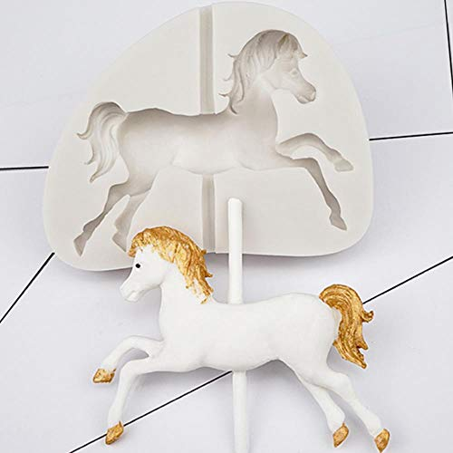 FTFSY Carousel Horse Shape Silicone Cake Mold Bakeware 3D Silicone Mould for Chocolate Clay Fondant Cake Decorating