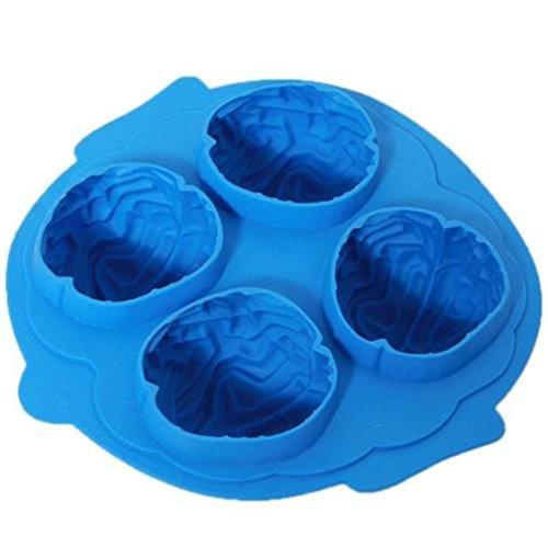 HENGSONG Gehirn Silikonform Eiswürfel Form Schokoladenform Pralinenform Pudding Basteln Verzieren Halloween Hirn Grusel Geister Formen Eiswürfelform (Blau)