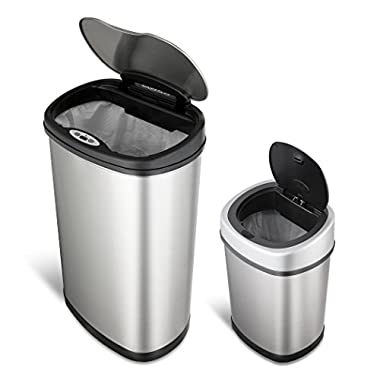Ninestars CB-DZT-50-1312-9 Automatic Touchless Motion Sensor Oval Trash Can Combo Set, 13.2 Gal. 50 L. & 3.2 Gal. 12 L, Stainless Steel