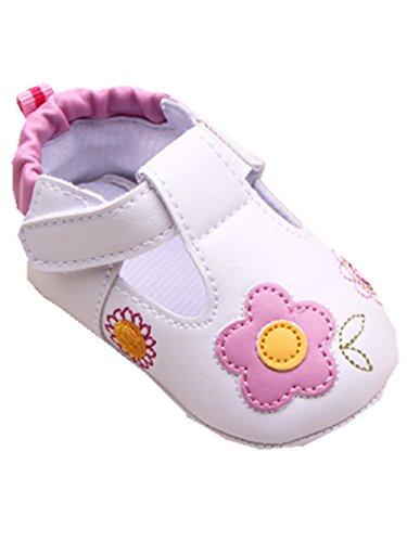 YICHUN Bébé Fille Chaussures de Premier Pas Fleur Chaussures de Loisir Chaussures Souple (Longueur de Semelle :11cm/4.3 pouces, Rose)