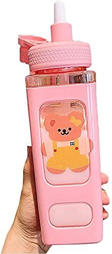 Simpatica borraccia con orsetto Kawaii, borraccia con cannuccia borraccia quadrata portatile in plastica sportiva - Tazze per l'acqua da tè con succo carine (Rosa)
