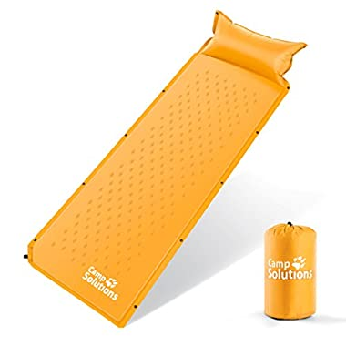 Camp Solutions Lightweight Self-Inflating Air Sleeping Pad, Orange