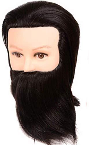 FXNB 10 `` Noir Cheveux Humains Hommes Mannequin Tête Salon Coiffeur Formation Barbe Style Mannequin Cosmétologie