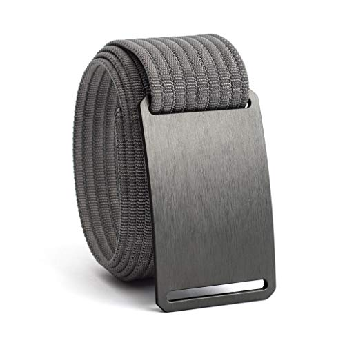 38 Inch Gunmetal Casual Web Belts For Men | Grey Buckle w/Grey Strap