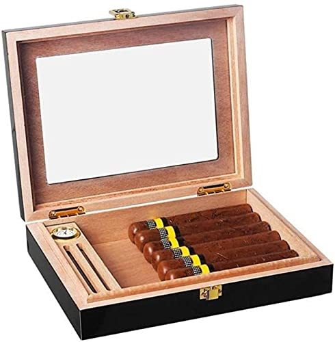 WANGXIAOYUE Caja de cigarros Caja de cigarros portátil, Caja de Cigarrillos de Cedro, con Vidrio/higrómetro/humidificador Caja de Tabaco (Color : Black)