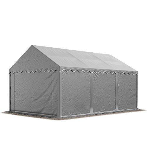 TOOLPORT Storage Tent 4x6 m approx. 500 g/m² PVC 100% waterproof Shed Shelter grey