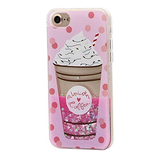 Keyihan Cover per iPhone 6S e iPhone 6 Glitter Liquido Custodia Antiurto Disegni Divertenti Brillantini Paillettes Protettiva Case Rigida Morbida Silicone Paraurti 4.7' (Ice Cream)