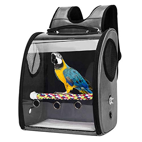 GreeSuit pájaro Loro Mochila Bolsa de Viaje con Percha Soporte para periquitos Cacatúas Conures Pinzones Pequeño Mediano Jaula para pájaros Aerolíneas Exteriores Avión Avión Coche