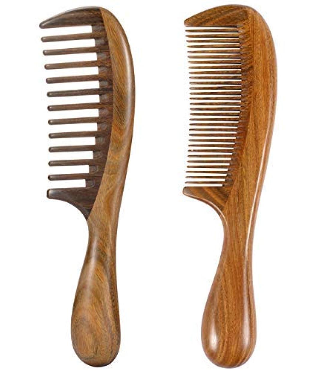 無視するエレベーター倍率iPang 2pcs Wooden Hair Comb Wide Tooth Comb and Find Tooth Comb Detangling Sandalwood Comb [並行輸入品]