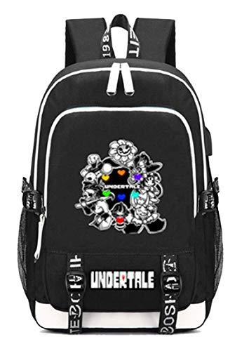 WANHONGYUE Undertale Spiel Backpack Schultasche Laptop-Rucksack mit USB-Ladeanschluss und Kopfhöreranschluss /14