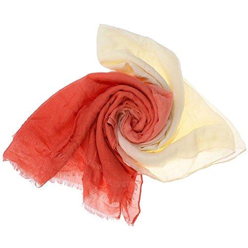 VANKER Neuf Femmes Graduel Souple Foulard Voile Longue Écharpe Étole de Fourrure Châle(Rouge océanique Beige)