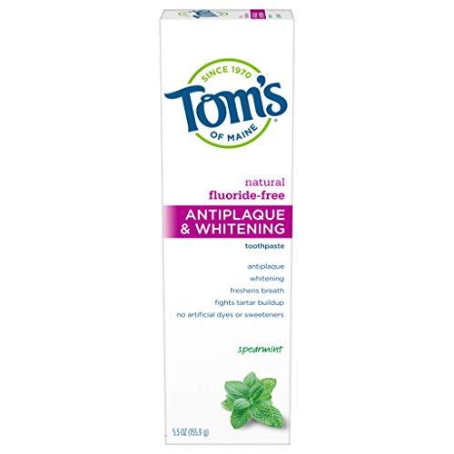 Tom's of Maine Fluoride-Free Antiplaque & Whitening Natural Toothpaste, Spearmint, 5.5 oz.