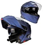 Viper RS-V171 Moto Bluetooth Casque Flip Up Modulaire Bleu Minuit Pare-Soleil Unisexe Adulte Tournée Équipement de Protection (L (59-60 CM))