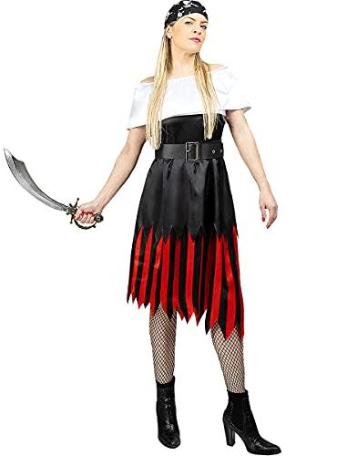 Funidelia | Disfraz de Pirata- Colección bucanero para Mujer Talla XXL ▶ Corsario, Bucanero - Color: Negro - Divertidos Disfraces y complementos para Carnaval y Halloween