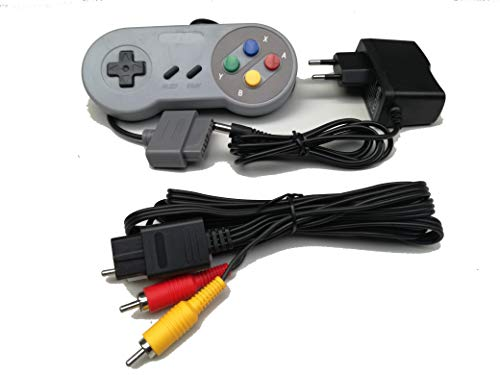 Link-e : manette de jeu, chargeur secteur et cable AV RCA compatible console Super Nintendo SNES