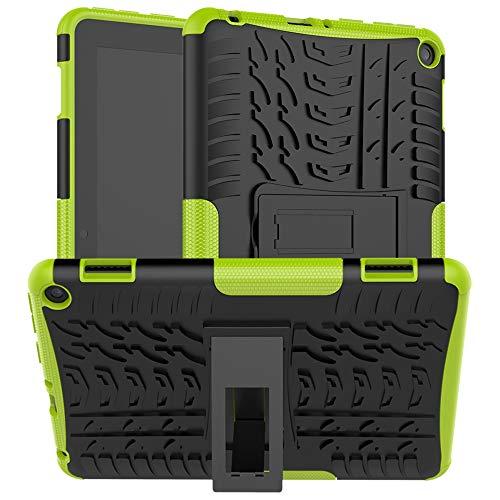 Funda Compatible con Amazon Fire HD 8/8 Plus 2020 (8.0 Inch Tablet), Carcasa Original Todo Nuevo Caso 360 Grados Protección/PC + TPU 2-In-1 / Heavy Duty Tough Armor/Soporte-Verde