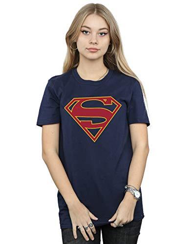 DC Comics Mujer Supergirl Logo Camiseta del Novio Fit Azul Marino Small