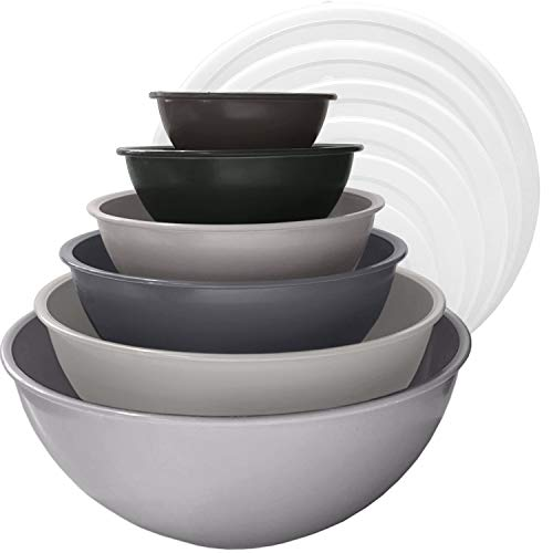 edge Plastic Mixing Bowls 12 Piece Nesting Set 6 Prep Bowls and 6 Lids, for Baking, Cooking and Storing, Charcoal