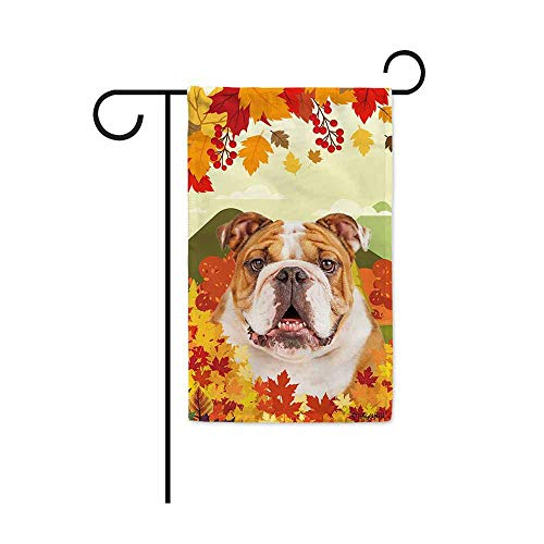 BAGEYOU Hello Fall in The Countryside with My Love Dog Bulldog Decorative Garden Flag Autumn Maple Leaf Banner for Outside 12.5X18 Inch Printed Double Sided
