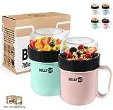 BELLYCUP Vaso de cereales para llevar – Sin BPA – Su práctico vaso de cereales para viaje – en gris, rosa o azul – yogur porridge ensalada sopa papilla para llevar la comida perfecta entre tiempo