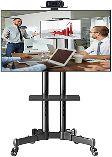 BNFD Upgraded Universal Swivel TV Stand on Wheels, Fits 32/42/43/50/55/65/70 Inch LED LCD Screens TV, Adjustable Height Floor Mobile TV Cart with 2