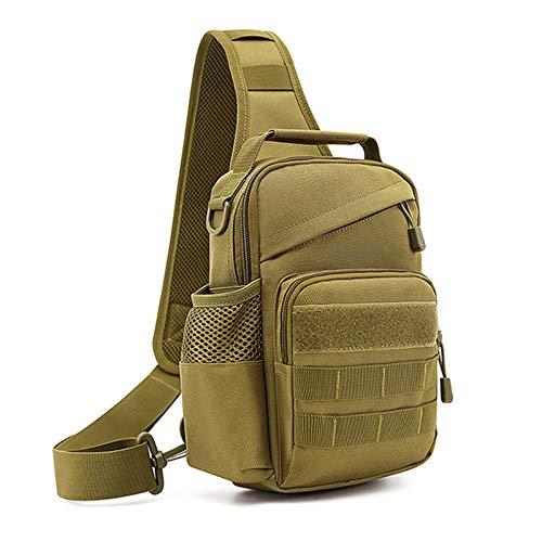 BAIGIO Taktisch Umhängetasche Militär Sling Rucksack Crossbody Bag mit USB-Ladeanschluss und Flaschenhalter für Trekking Camping Wandern Reisen (Camouflage schwarz) (Braun)