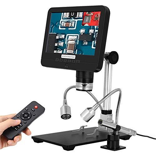 TOPQSC Industral Microscopios Digitales, 7 pulgadas 1080P 12MP HD Pantalla Lupa 60fps Herramientas grabadora de vídeo para soldadura de reparación, con luces de soporte ranura para tarjeta SD